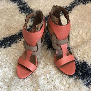 Rachel Roy Leather Coral & Tan Heels